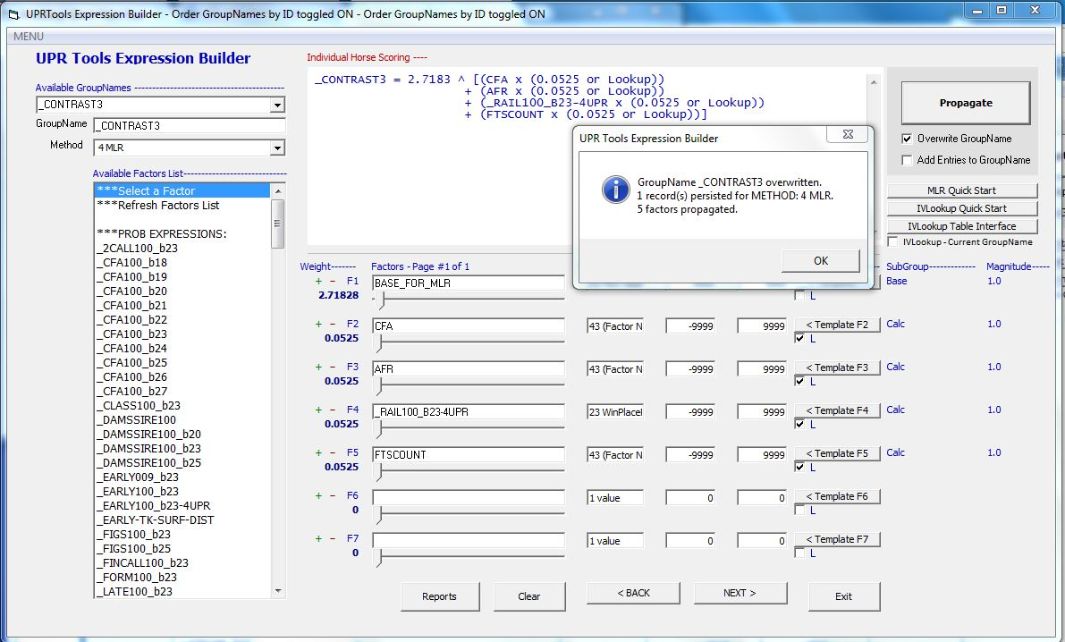 The Expression Builder in JCapper UPR Tools