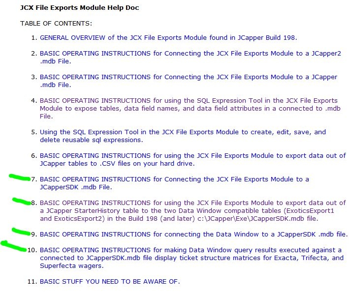 JCX Exports Table of Contents