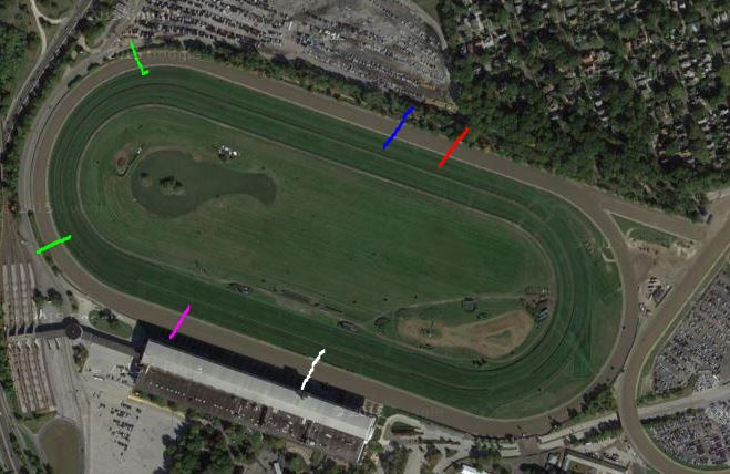 Satellite image - Saratoga Race Course - hand drawn points of call added.